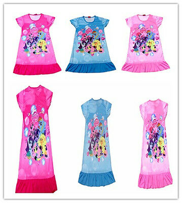 Kids Girl My Little Pony Cartoon Nightie Nightdress Pyjamas T-shirt Dress 3-10 Y