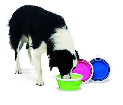 Travel Dog Pet Food Water Bowl Compact Collapsible Silicone Large 3 Cup / 24oz