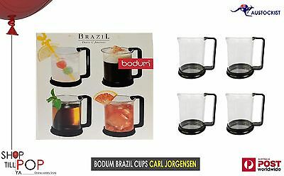 Bodum Brazil Coffee/Tea Glasses Black Frames 8oz 240ml 7oz BNIB Carl Jorgenson