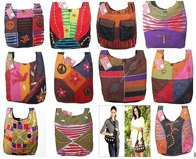 Wholesale lot of 12 Boho Cross Body Shoulder Bag Nepal Embroidery Hippie Purse