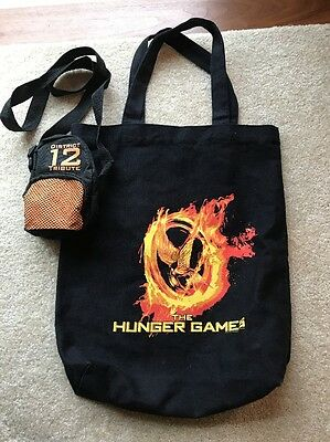 The Hunger Games Flaming MockingJay Logo Black Tote Bag Heavy Duty Canvas Extra!