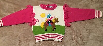 QUILTEX LITTLEKNITS GIRLS 3T Vintage Sweater Girl Riding Horse Fringe