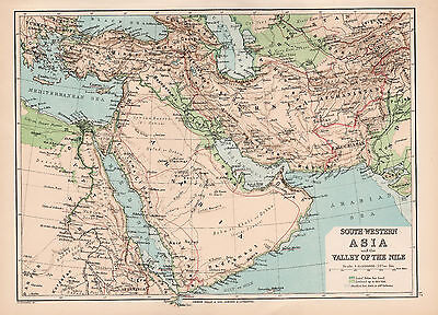 Map Of South Western Asia Nile  1894 Original Large Antique