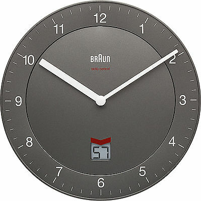 Braun Radio Controlled Round Wall Clock Grey (DCF) GMT+1 Not UK BNC006GYGY-DCF