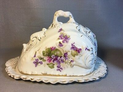Royal Bavarian Covered Cheese Dish.  Violets Gold Leaf 1Z