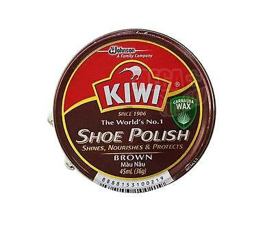 KIWI Shoe Boot Polish Wax Glossy Shines Nourishes Protects # BROWN Color 45 ml.