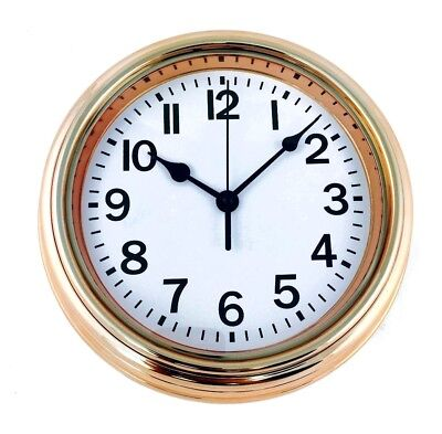 Shabby Chic Copper Effect Round Wall Clock Vintage Style 22cm Gift Kitchen Hall