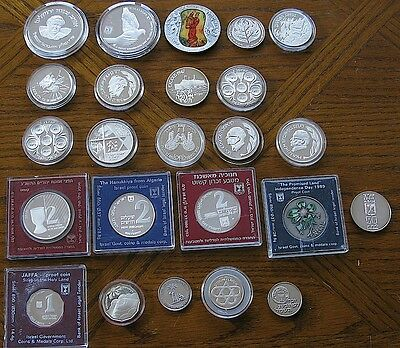 Israel Silver Medals & Silver Coins Lot of 24 Collection 653 Grams of Silver