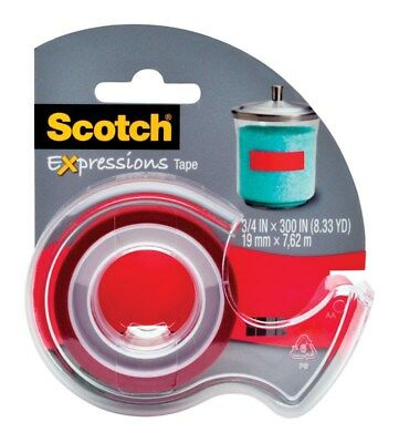 """Scotch C214REDDESF 3/4"""" X 300"""" Red Scotch® Expressions Tape With Dispenser"""