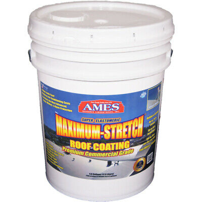 Ames Max Stretch Premium Roof Top Coat 25 % Rubber Tintable White 5 Gl