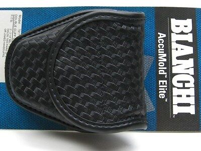 BIANCHI Black 7917 Basketweave ACCUMOLD ELITE Doubled Handcuff Cuff Case! 22178