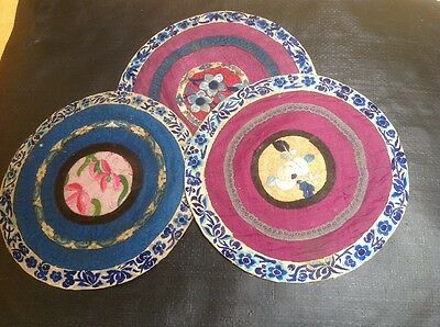 Antique Chinese Blossom Embroidered Embroidery Panels Panel Mats Tlc Spares Etc
