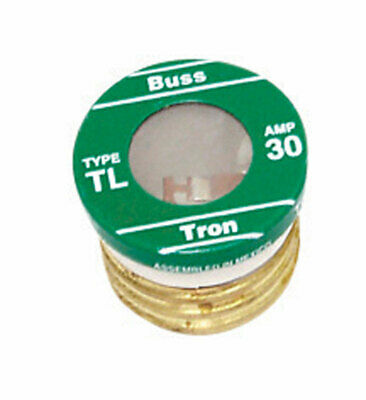 Bussmann Plug Fuse Time Delay 30Amp 125V Brass Small Motor&Inductive Load 4 PK
