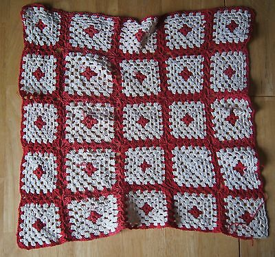 "VINTAGE Hand Crocheted Red and White Granny Square Doily Dressscarf 15"" X 15"""