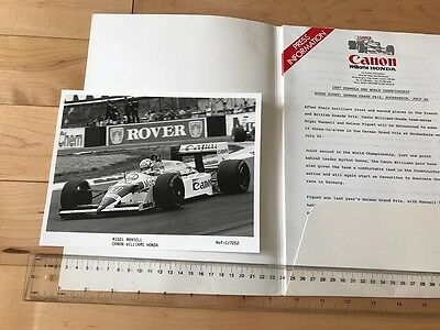 1987 German GP F1 WILLIAMS HONDA PRESS KIT with 1 B&W PRESS PHOTO 6 X 8 Inch.