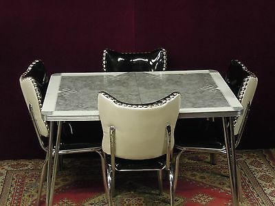 Chrome Louisville Dinette Set Table Chairs Pearl Black Silver New Custom Vinyl