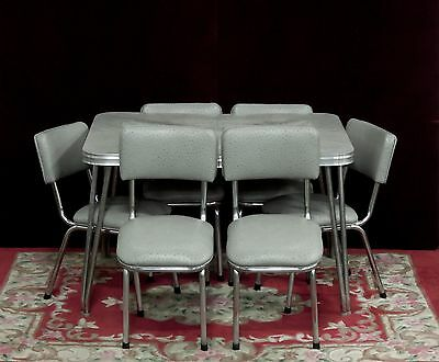 Chrome Dinette Set Table Gray Marbled Chairs Brand New Custom Vinyl