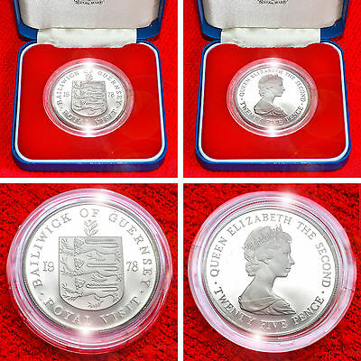 Bailiwick Of Guernsey 1978 .925 Silver Proof 25 Pence + Coa+Box Limited Edition