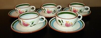 (5) Stangl Pottery COUNTRY GARDEN Cups & Saucers