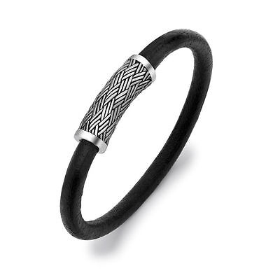 Hoxton London Men's Sterling Silver Black Leather Inlay Silver Magnetic Clasp...