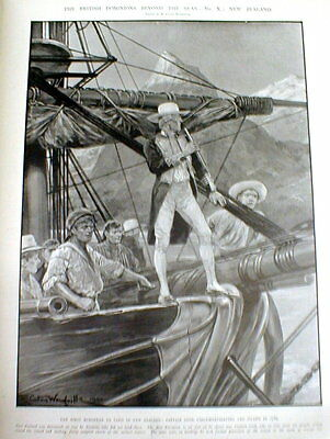 1903 illustrated newspaper w large engraving CAPTAIN COOK discovers NEW ZEALAND