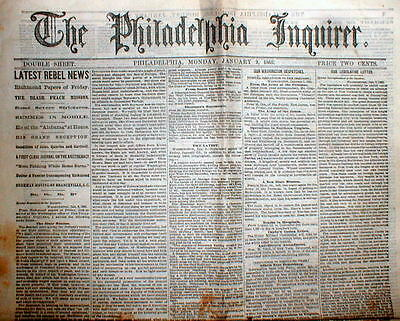 3 original 1865 PHILADELPHIA INQUIRER Civil War newspapers -Last Months ofTheWAR