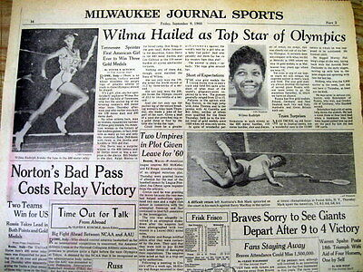 1960 display newspaper WILMA RUDOLPH top star at SUMMER OLYMPICS in ROME Italy