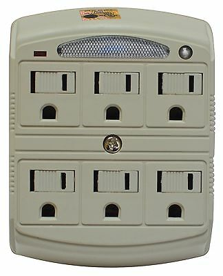 Stanley 33208 6 Outlet Surge Protected Wall Adapter With Night Light
