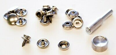 Lord & Hodge 1110 Brass Nickel Plated Screw Stud Snap Fastener Kit 6 Count