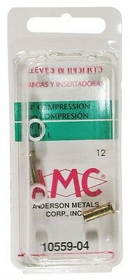 """Amc 710559-04 1/4"""" Low Lead Brass Compression Sleeves With Insert 2 Count"""