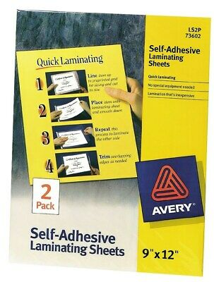 "Avery 73602 9"" X 12"" Clear Self Adhesive Laminating Sheets 2 Count"