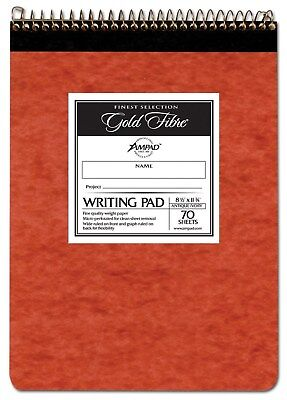"Ampad Gold Fibre 20-008 8-1/2"" X 11-3/4"" 70 Sheet Wide Rule Ivory Writing Pad"