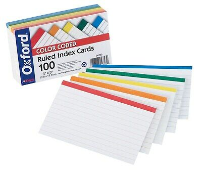 """Oxford 4753 100 Count 3"""" x 5"""" Color Coded Ruled Index Cards"""