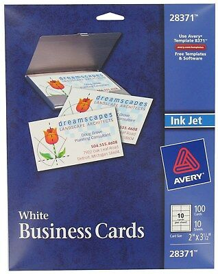 Avery 28371 White Ink Jet Printer Business Cards 100 Count  - PK 5