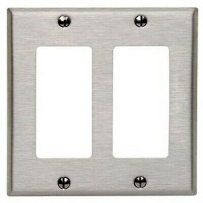 Leviton 000-84409-04 Double Gang Stainless Steel 2-Decora Rocker Wallplate