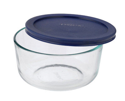 Pyrex Round Glass Dish With Lid 4 Cup Blue Pack of 4