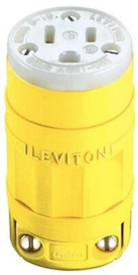 Leviton 065-01547 15 Amp Yellow Industrial Grade Straight Blade Connector