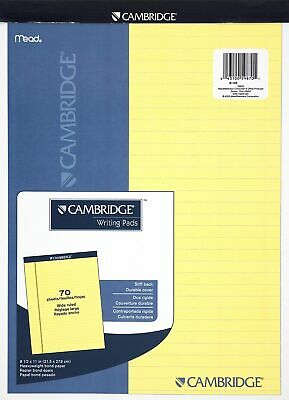 "MeadWestvaco 59870 8-1/2"" X 11"" Canary Yellow Cambridge® Stiff Back Legal Pad"