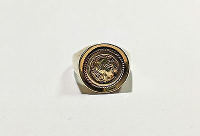 Lrg 18k Yellow Gold Old Ancient AOE Owl Greek Coin Signet Statement Ring Size 11