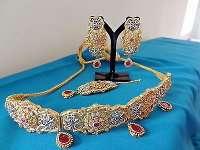 Bollywood Pakistani Indian Bridal Party Polki Studded Choker Jewellery Set