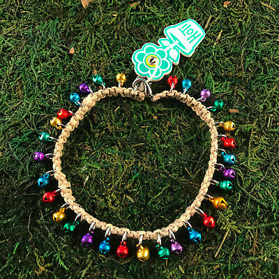 HOTI Hemp Handmade Natural Multi Colour Metallic Bells Anklet Ankle Bracelet NWT