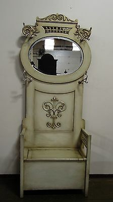French Hall Tree Antiqued  White Beveled Mirror Drop