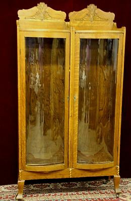 Antique Bent Glass Oak Curio Cabinet