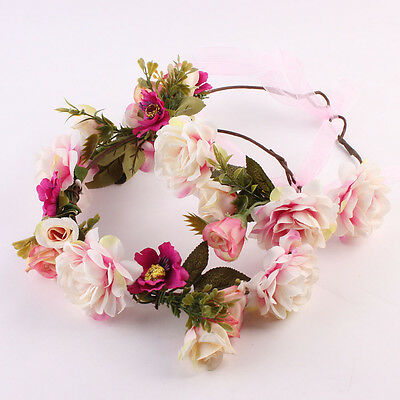 2pcs Headwear Floral Hairbands Flowers Wreath Garlands Mommy&Kids Headband
