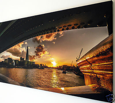 """London Skyline Sunset Wall Art Canvas Picture Large 18"""" X 32"""""""