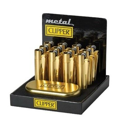 """CLIPPER METAL FLINT """"GOLD BRUSHED"""" with Gift Box Tin Box XMAS GIFT"""
