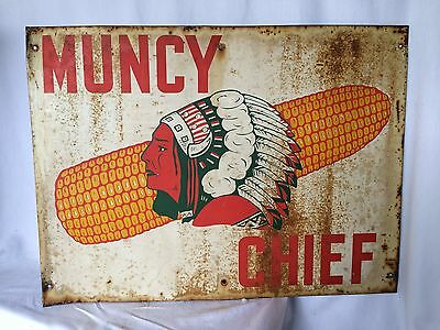 Vintage Muncy Chief Feed Seed Sign Agricultural Rare