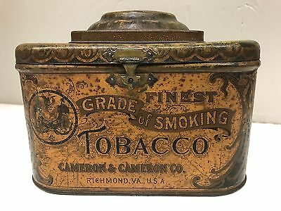 Antique Tobacco Humidor Cigar Tin Ad Litho Canister Container Cameron VTG USA