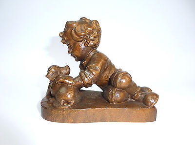 Unusual Carved Wooden Figure um 1900 Boy with Dog Child Wood B-02136