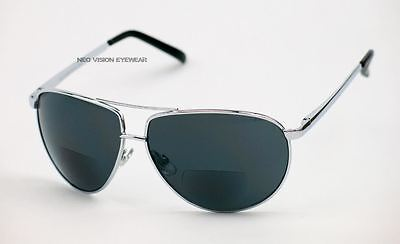Global Vision Aviator 2.0 Smoke Inner Bifocal Reading Silver Metal Sunglasses